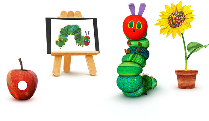 Image of an Apple, Easel, Caterpillar & Sunflower