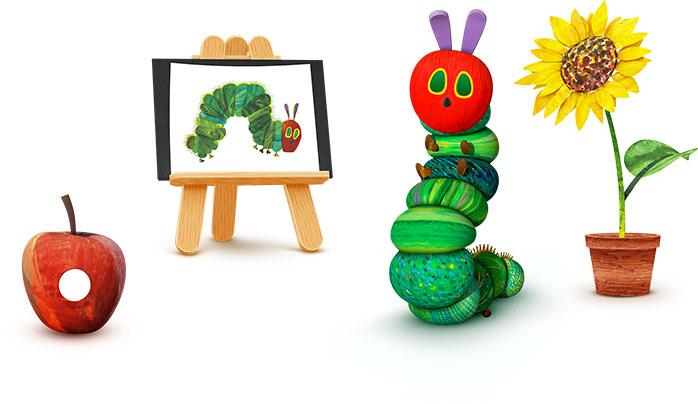 Image of an Apple, Easel, Caterpillar & Sunflower
